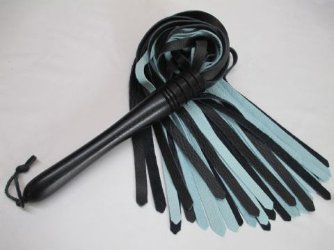 Ebonised Hard Wood 10mm wide Falls Luxury Zebu & Calf leather Duo Coloured Flogger